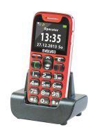EVOLVEO EasyPhone, mobilní telefon pro seniory s nabíjecím stojánkem (červená barva), snadné ovládání, EP-500-RED