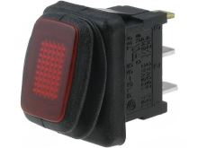 Přepínač kolébkový    2pol./2pin  ON-OFF 12V/16A IP65 červená