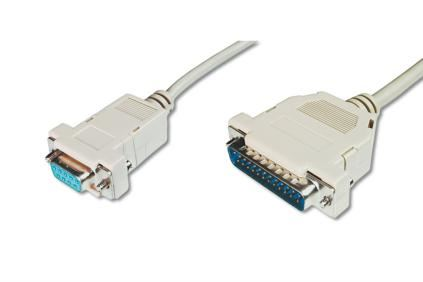 Digitus sériový kabel připojovací DB9/DB25 F/M 3m, 2x stíněný, šedý