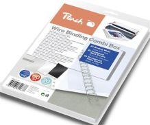 PEACH vazací drátěný Wire Binding Combi Box PW079-07, 20 drát 8 mm, 10+10 obal, 20x trasnparentní obal 510991