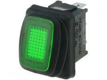Přepínač kolébkový    2pol./2pin  ON-OFF 12V/16A IP65 zelená