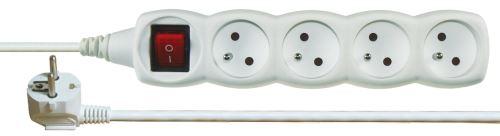 Prodlužovací kabel s vypínačem – 4 zásuvky, 2m, bílý, 1902140200