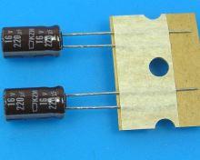 220uF/16V - 105°C Nippon  KZM kondenzátor elektrolytický, low ESR, long life, high ripple