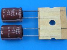 330uF/35V - 105°C Nippon  KZM kondenzátor elektrolytický, low ESR, long life, high ripple