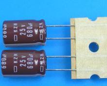 680uF/25V - 105°C Nippon  KZM kondenzátor elektrolytický, low ESR, long life, high ripple