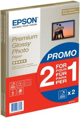 EPSON paper A4 - 255g/m2 - 2x15sheets - photo premium glossy (2 for 1 PROMO), C13S042169