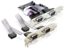 Adaptér PCI Express x1 4xsériový port + low profile