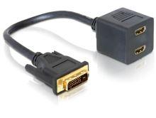 Delock adaptér DVI-D 25 samec > 2x HDMI samice, 65069