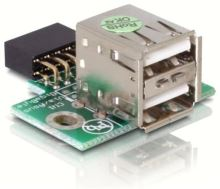 Adaptér USB ze základní desky na 2x USB A samice vertikální
