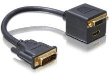 Delock adaptér DVI 25 samec > DVI 25 samice + HDMI samice, 65057
