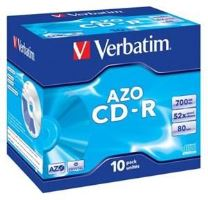 VERBATIM CD-R AZO 700MB, 52x, jewel case 10 ks 43327