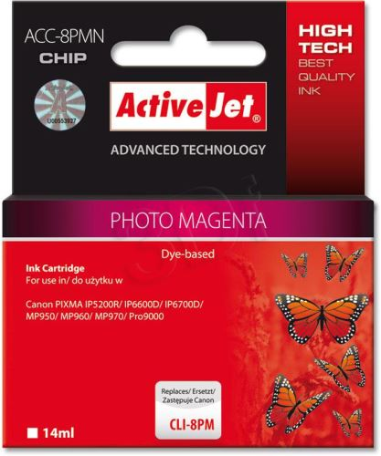 ActiveJet Ink cartridge Canon CLI-8 Photo Mgenta WITH CHIP     ACC-8PM