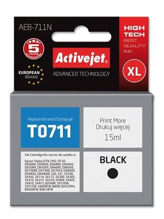 ActiveJet Ink cartridge Eps T0711 D78/DX6000/DX6050 Black - 15 ml     AEB-711