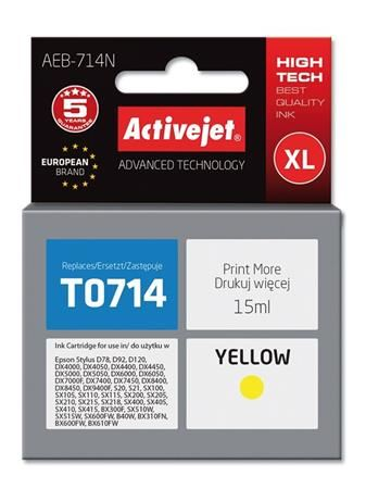 ActiveJet Ink cartridge Eps T0714 D78/DX6000/DX6050 Yellow - 15 ml     AEB-714, EXPACJAEP0107