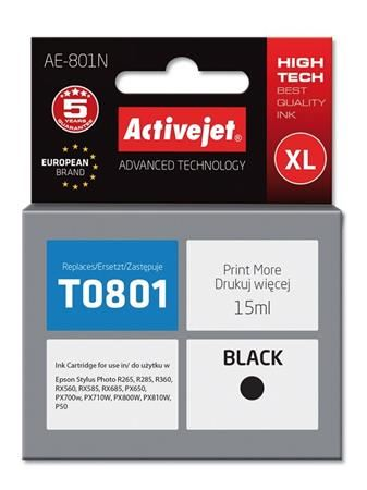ActiveJet Ink cartridge Eps T0801 R265/R360/RX560 Black - 15 ml     AE-801, EXPACJAEP0108