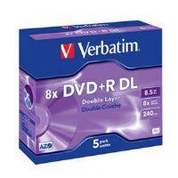 VERBATIM DVD+R DL AZO 8,5GB, 8x, jewel case 5 ks 43541