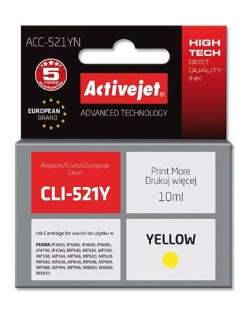 ActiveJet Ink cartridge Canon CLI-521Y  (WITH CHIP)     ACC-521Y, EXPACJACA0083
