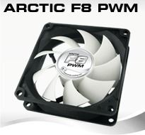 Arctic F8 PWM PST,  80x80x25 mm case fan with PWM control and PST cable, AFACO-080P0-GBA01
