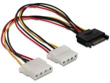 Power Adapter SATA 15-pin samec na 2x Molex 4-pin samice, 20cm, 65159