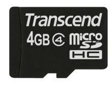 Transcend 4GB microSDHC (Class 4) paměťová karta (bez adaptéru), TS4GUSDC4
