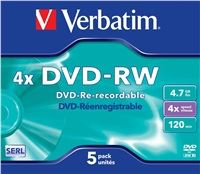 VERBATIM DVD-RW SERL 4,7GB, 4x, jewel case 5 ks 43285