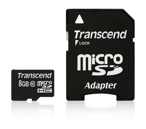 Transcend 8GB microSDHC (Class 10) paměťová karta (s adaptérem)