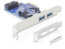 DeLock PCI Express x1 > USB 3.0, 2x externí, 1x interní 19-pinový konektor + low profile