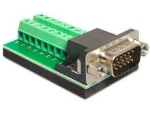 Delock Adaptér VGA samec > svorkovnice 16 pinů, 65424