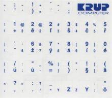 Premium CZ přelepky pro klávesnice s cizím layoutem - bílé písmo, průhledné pozadí pkczb