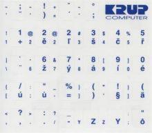 Premium CZ přelepky pro klávesnice s cizím layoutem - modré písmo, průhledné pozadí pkczm