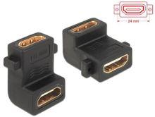 Delock adaptér HDMI A samice/samice, s otvory pro šroubky,pravoúhlý 90° 65510