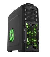EVOLVEO Y01, case Herní full ATX midi tower, 5x 120mm větrák, 2x USB2.0, 2x USB3.0, 1x HD Audio, černo zelený design