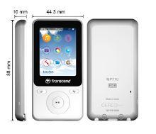 Transcend 8GB Flash MP3 přehrávač T-Sonic 710 bílý, TS8GMP710W