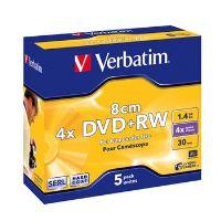 VERBATIM DVD+RW SERL 1,46GB 8cm, 4x, jewel case 5 ks 43565