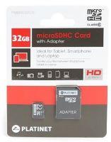 PLATINET microSDHC  SECURE DIGITAL + ADAPTER SD 32GB class10