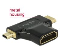 Delock Adapter High Speed HDMI with Ethernet – HDMI-A female > HDMI Mini-C male + Micro-D male black