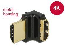 Delock Adaptér High Speed HDMI s Ethernetem – HDMI-A samice > HDMI-A samec 4K 90° pravoúhlý nahoru černý