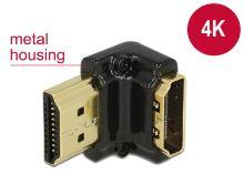 Delock Adaptér High Speed HDMI s Ethernetem – HDMI-A samice > HDMI-A samec 4K 90° pravoúhlý dolů černý
