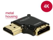 Delock Adaptér High Speed HDMI s Ethernetem – HDMI-A samice > HDMI-A samec 4K 90° pravoúhlý vlevo černý