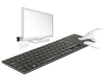 Delock Bezdrátová klávesnice pro Smart TV a Windows PC s Touch Padem 6 mm tenký 12454