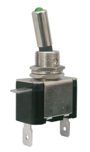 Přepínač páčkový   2pol./2pin  ON-OFF 12VDC/25A  LED zelená