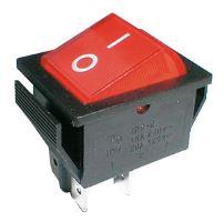 Přepínač kolébkový  2pol./4pin  ON-OFF 250V/15A pros. červený