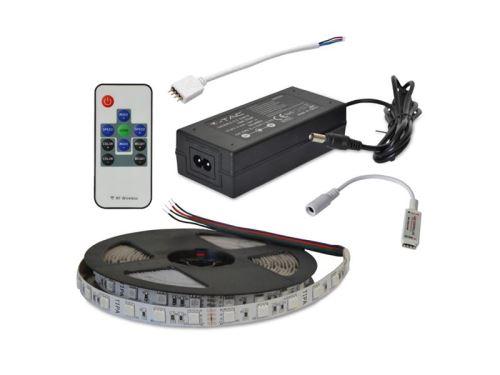 LED pásek sada 2,5m 24V 5050 60LED/m IP20 12W/m RGB + RGB RF kontrolér + zdroj