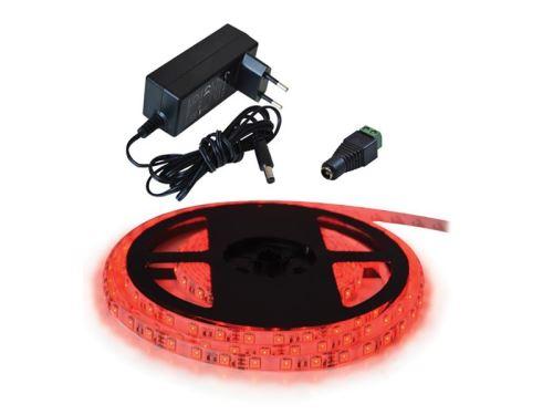LED pásek sada 2,5m 12V 3528 60LED/m IP20 4.8W/m červená +zdroj