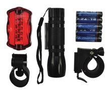 Sada cyklo světel, přední 3W LED + zadní 5x LED, 2x držák, 5x AAA baterie