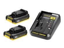 Sada AKU nabíječka / 2x baterie 2000mAh 18V STANLEY FATMAX FMC693D2