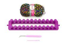 Sada na pletení TEDDIES dětská fialová s příslušenstvím