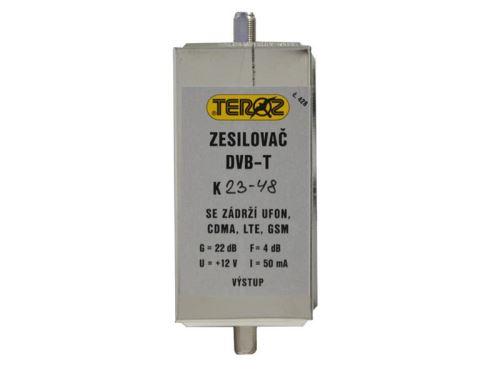 Anténní zesilovač TEROZ 428X k.23 až k.48 s filtrem 5G+LTE+GSM+UFON+CDMA, F-F