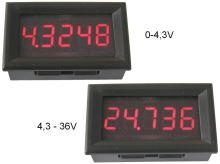 Měřidlo digitální panelové 0 - 36V LED displej voltmetr 5 místný displej - červený