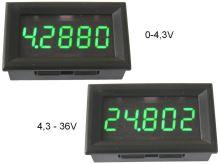 Měřidlo digitální panelové 0 - 36V LED displej voltmetr 5 místný displej - zelený